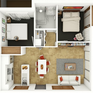 Edward Street Apartment #1 3D Floor Plan Rendering