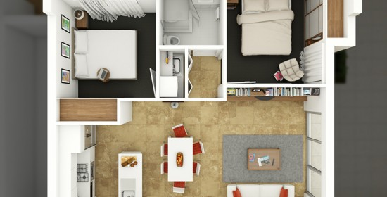 Edward Street Apartment #1 3D Floor Plan Rendering