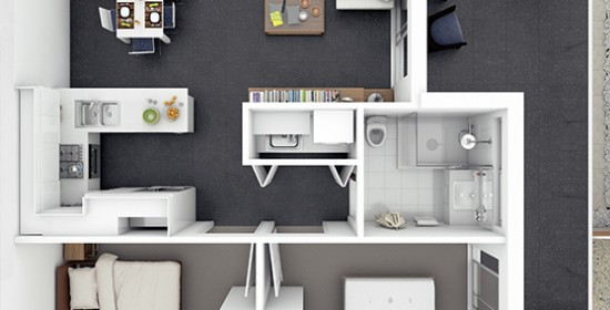 Edward Street Apartment #1 3D Floor Plan Rendering #2