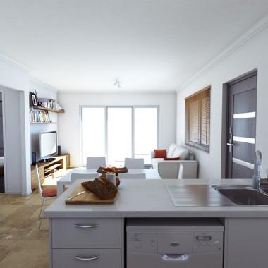 Edward Street Kitchen & Living Room 3D Interior Rendering   Virtual Tour