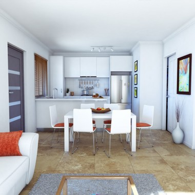 Edward Street Apartment #1 Living Room 3D Interior Rendering #3 | Virtual Tour