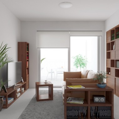 Henry Street Apartment #1 Living Room 3D Interior Rendering #3 | Virtual Tour