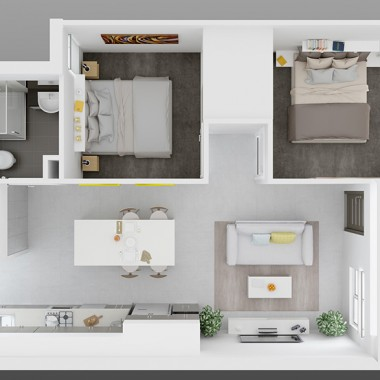 Henry Street Apartment 3D Floor Plan Rendering