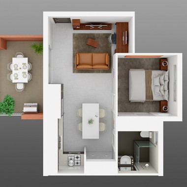 Henry Street Apartment 3D Floor Plan Rendering #2
