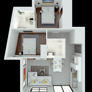 Spencer Road Apartment #1 3D Floor Plan Rendering #1