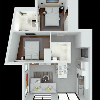 Spencer Road Apartment #1 3D Floor Plan Rendering #1