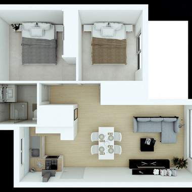Spencer Road Apartment 3D Floor Plan Rendering