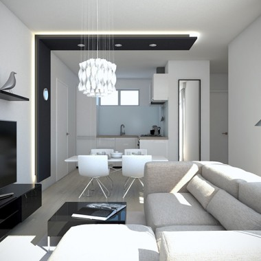 Spencer Road Apartment Living Room 3D Interior Rendering | Virtual Tour