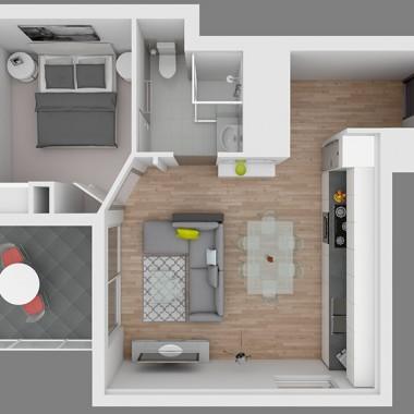 Gild Street Apartment 3D Floor Plan Rendering #1