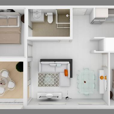 Gild Street Apartment 3D Floor Plan Rendering #2