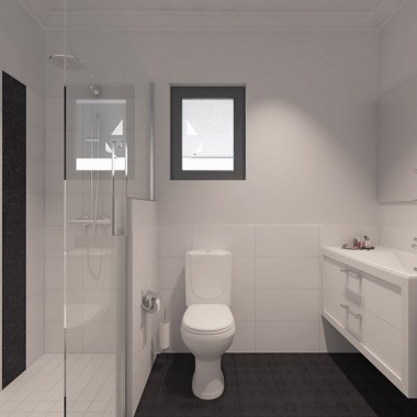 Fitzroy Street Apartment Bathroom 3D Interior Rendering | Virtual Tour