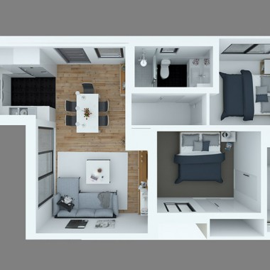Fitzroy Street Apartment 3D Floor Plan Rendering #1