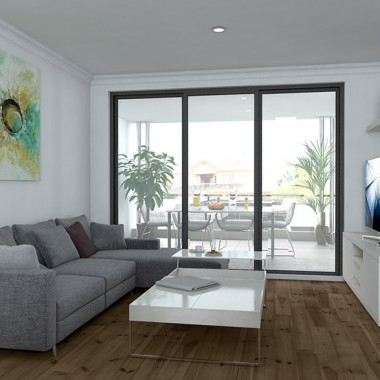 Fitzroy Street Apartment Living Room Interior Rendering #2 | Virtual Tour