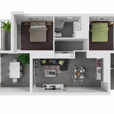122 Edward Street 3D Floor Plan Rendering
