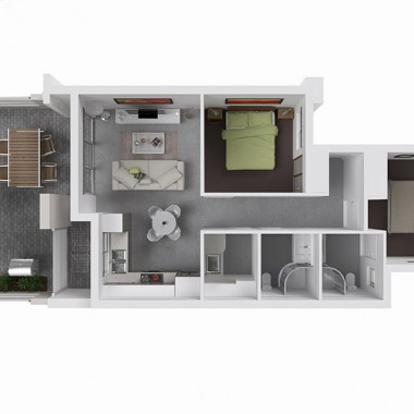122 Edward Street Apartment 3D Floor Plan Rendering #2
