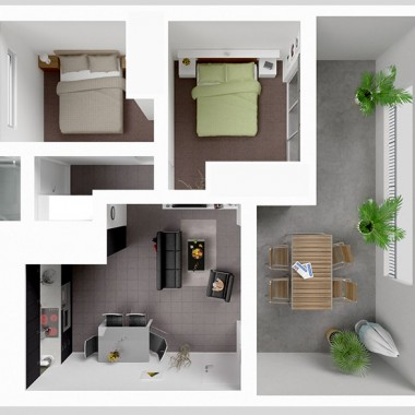 213 Edward Street 3D Floor Plan Rendering #1